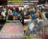 Vijay fans celebration in vettri and raaki theatre during vijay birthday celebrations