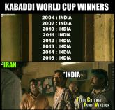 Kabaddi Indian team champion memes