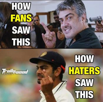 Ajith Reaction in Virat Kohli Style