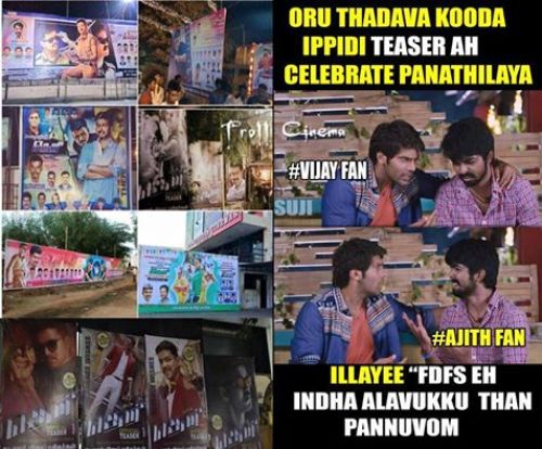 Theri teaser celebrations by vijay fans photos and memes