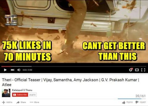 Theri teaser 1 lakh likes record