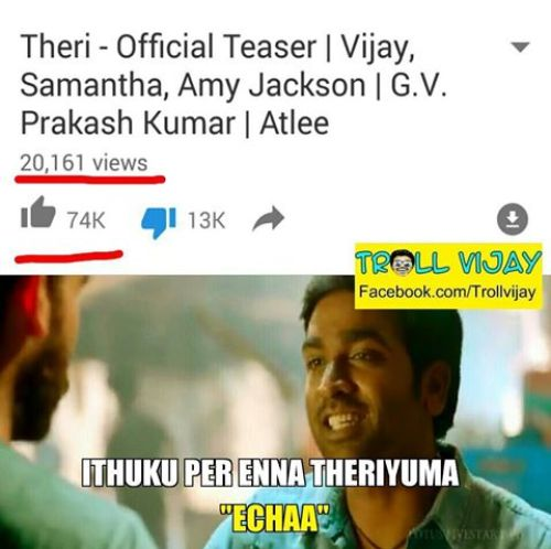 Youtube theri teaser fake records trolls and memes