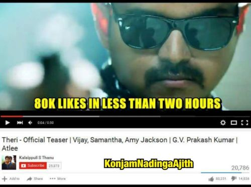 Theri youtube 1lakh likes in 6hrs 30mins