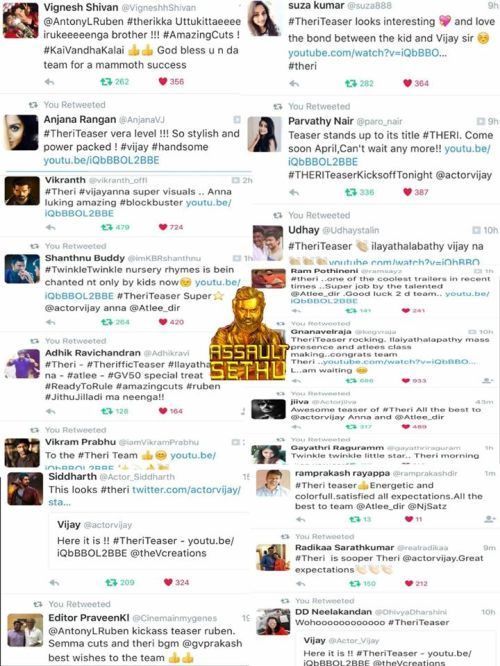Celebrities tweets about Theri teaser