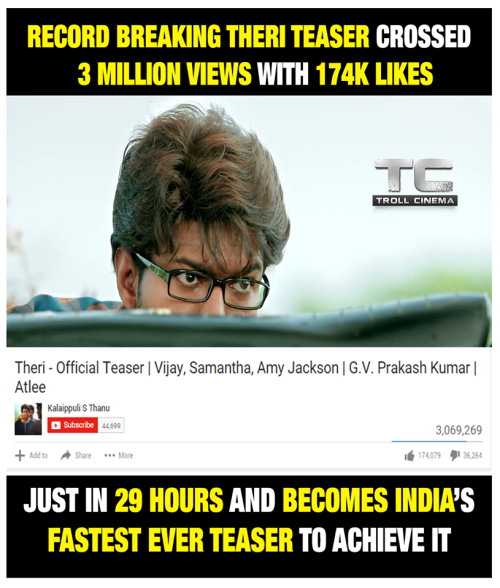 Theri teaser youtube record