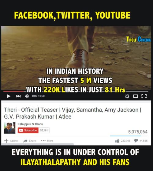 Theri teaser youtube 5million record