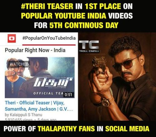 Theri teaser most trending in youtube