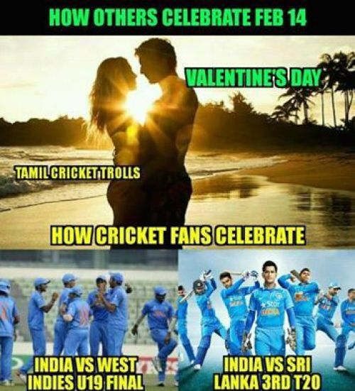 Cricket fans on valentines day memes