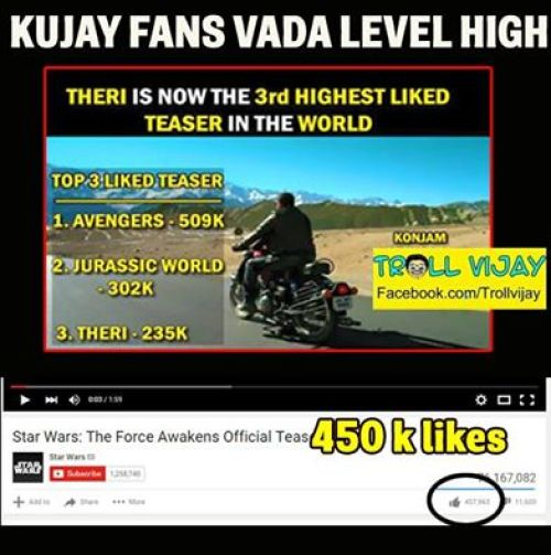 Theri teaser fake youtube record memes and trolls