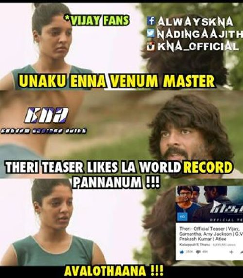 Theri teaser record hits
