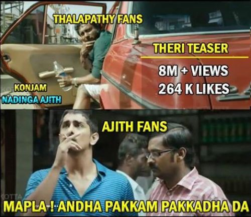 Theri teaser 8million views youtube records memes