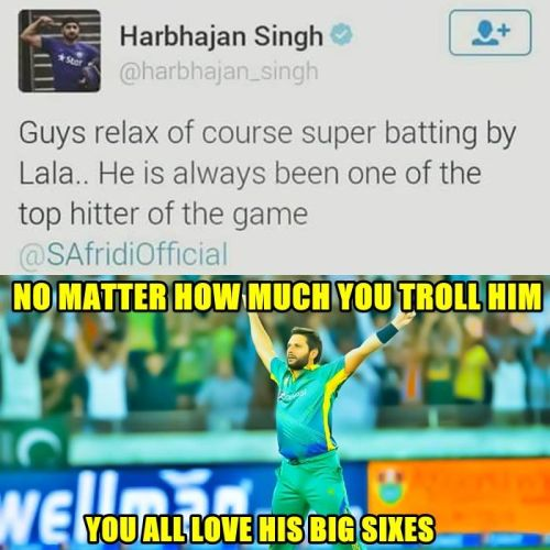 Harbhajan praised afridi on twitter after T20 worldcup win against Bangladesh