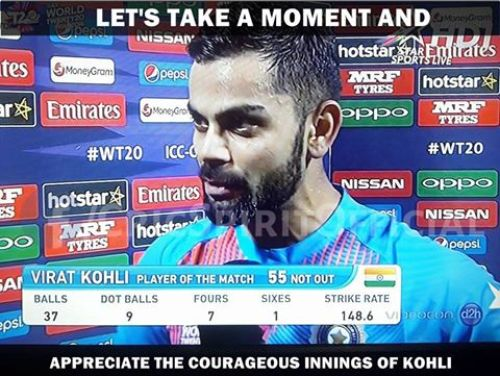 Respect kohli for his 50 against pakistan in worldcup t20 2016