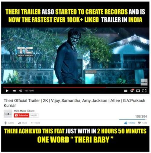 Theri trailer youtube record