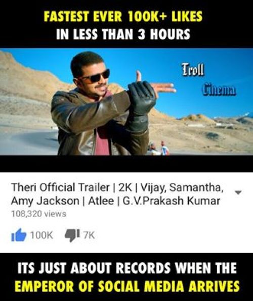 Fastest 1 lakh likes for Theri trailer in just 3hrs