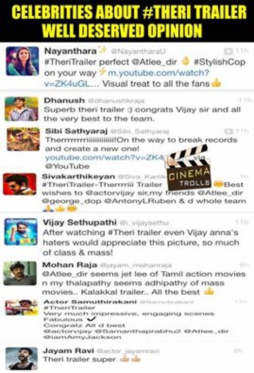 Theri trailer celebrities tweet