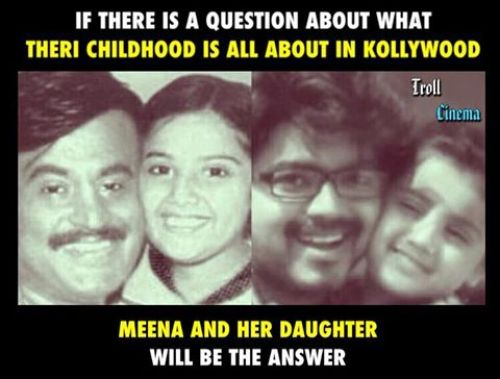 Rajini with Baby Meena and Vijay with meena daughter nainika photo