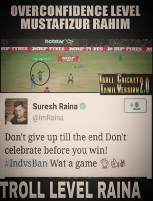 Raina trolls bangladesh celebration in T20 Worldcup