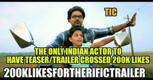 Theri trailer 2 lakhs youtube likes memes