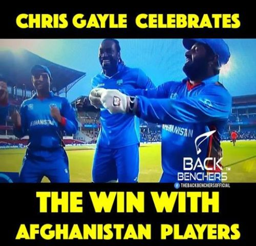 Chris Gayle celebrating Afghanistan Worldcup T20 match win with their team jersey