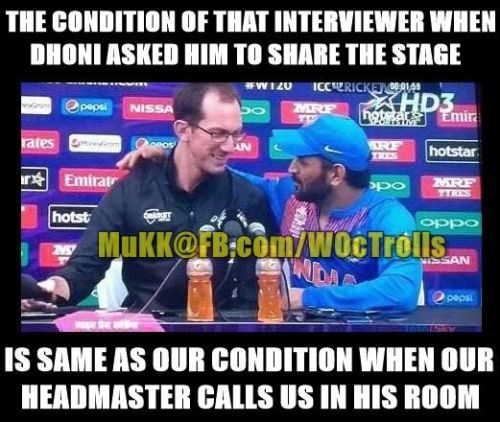 Dhoni and reporter trolls
