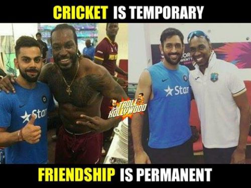Kohli with gayle and dhoni with bravo photo