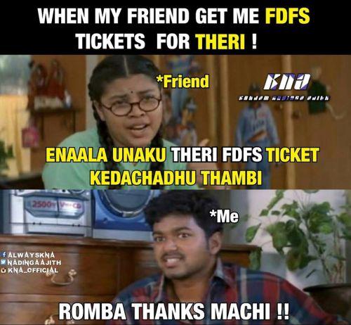 Ilayathalapathy came to theaters to collect theri movie ticket memes & trolls
