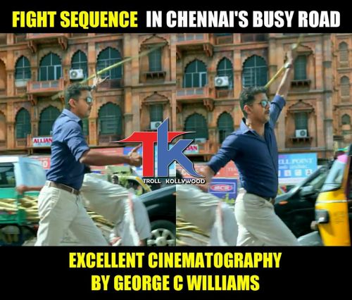Theri fight scene in chennai road