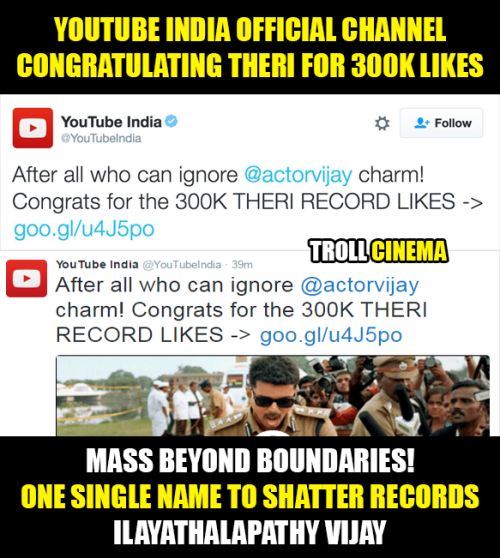 Theri youtube 3 lakhs likes wish memes