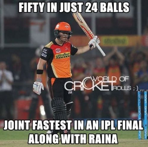 Warner IPL Final 50 Runs in 24 Balls Memes