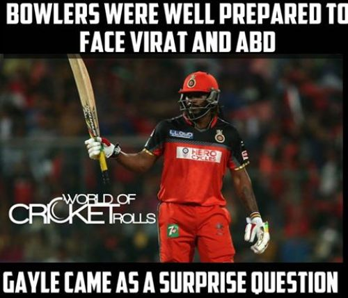 Chris Gayle Batting Memes in IPL 2016