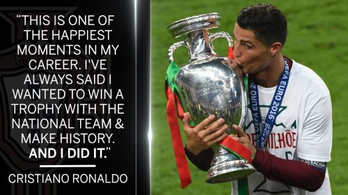 Cristiano Ronaldo Kissing Euro 2016 Cup Photos