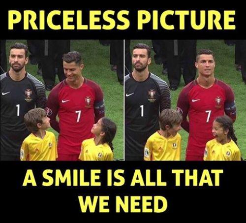 cristiano ronaldo making kids smile img uefa euro 2016 won by ronaldo's portugal team winning memes and photos