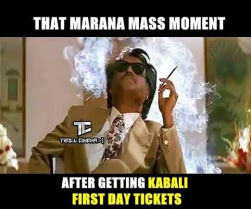 Kabali first day ticket memes