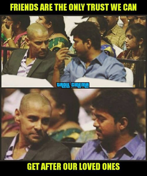 Vijay and Vikram Friendship Day Memes