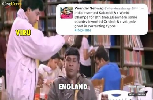 Sehwag troll england after kabaddi worldcup victory