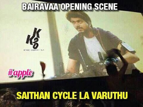 Bairava Vijay intro cycle scene leaked video memes