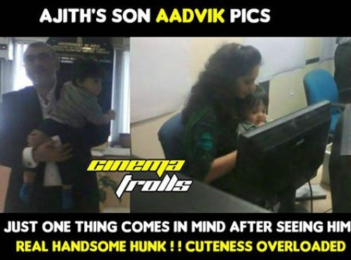 Thala ajith cute son aadvik photos