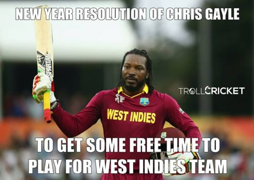 Chris Gayle new year resolution memes