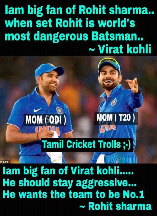 Rohit sharma ODI Man of the series and Virat kohli T20 man of the series praising each other