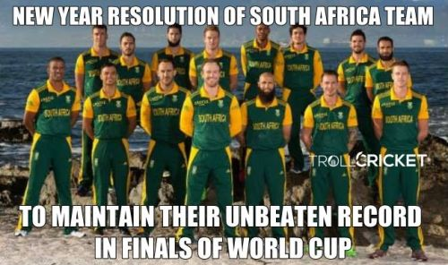 Southaftican cricket team new year resolution meme